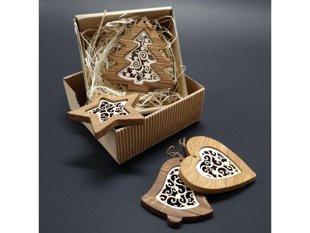 Vánoční set 4 druhů dřevěných ozdob z masivu s vkladem - ornament + krabička