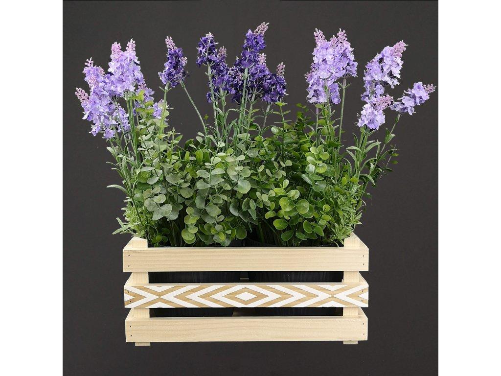 Dřevěný obal na dva květináče s motivem kosočtverců, 32x17x15cm, dřevěný květináč