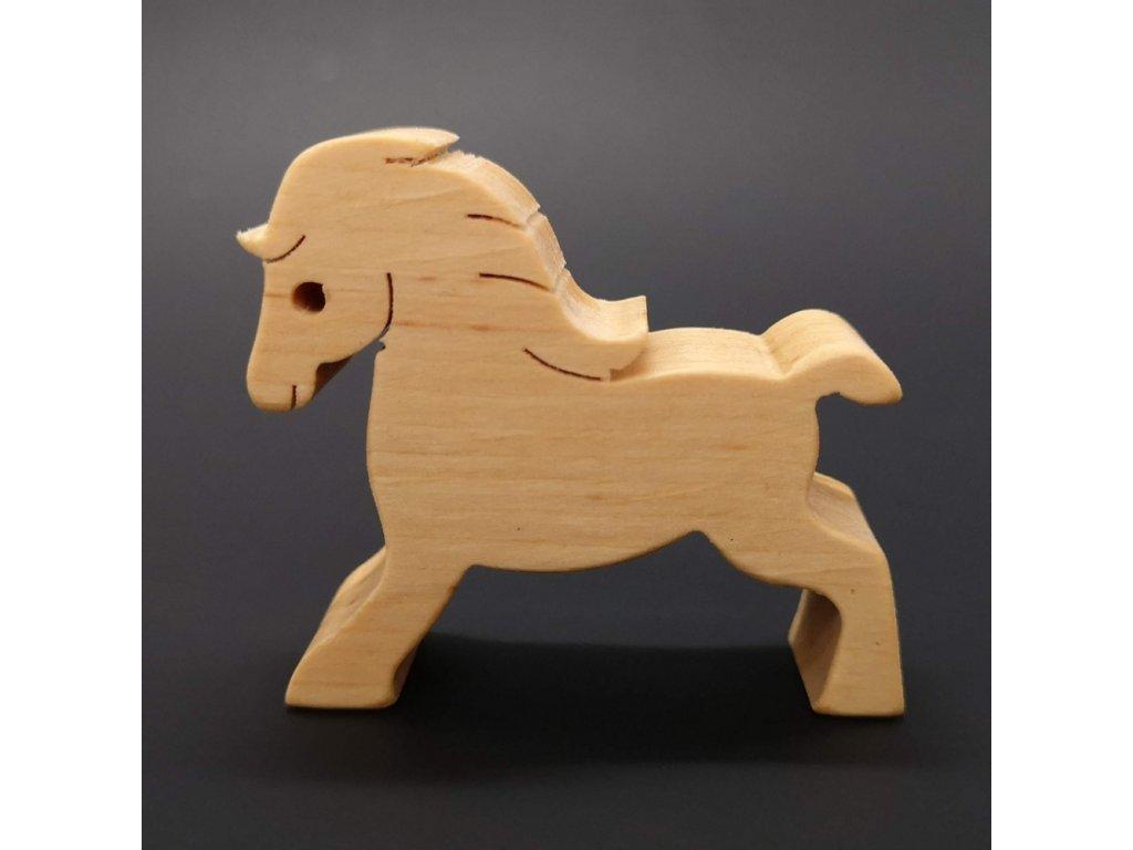 Dřevěný kůň, masivní dřevo, 6x5,5x2 cm