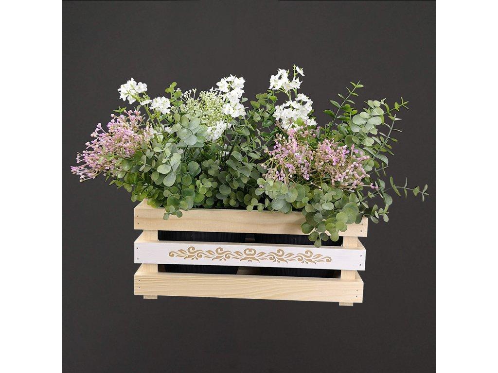 dřevěný obal s květináči