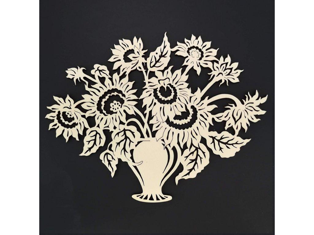 Dřevěná ozdoba kytice slunečnic 25 cm