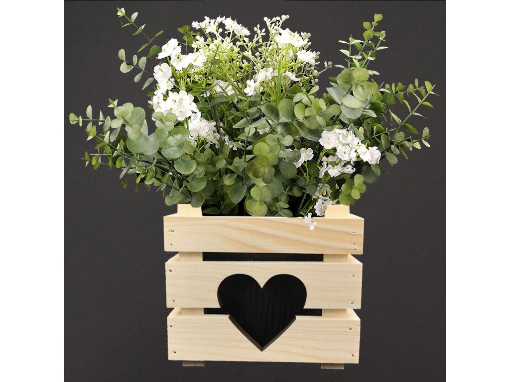 Dřevěný obal na květináč se srdcem, 17x17x15cm Český výrobek