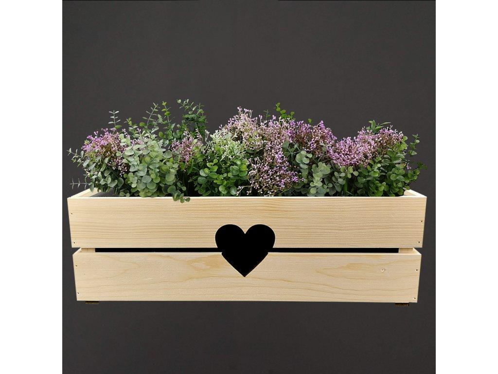 Dřevěný obal na truhlík se srdcem, 52x21,5x17cm Český výrobek