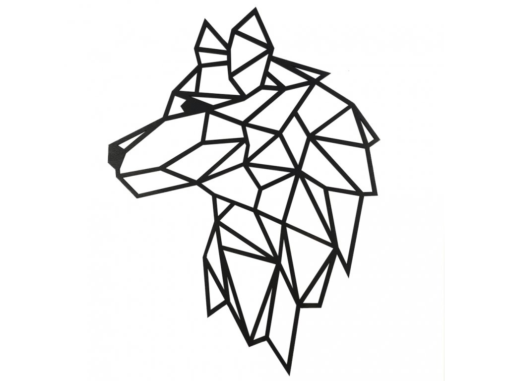 Dřevěná dekorace Hlava vlka na zeď, černá barva, 41 cm, český výrobek