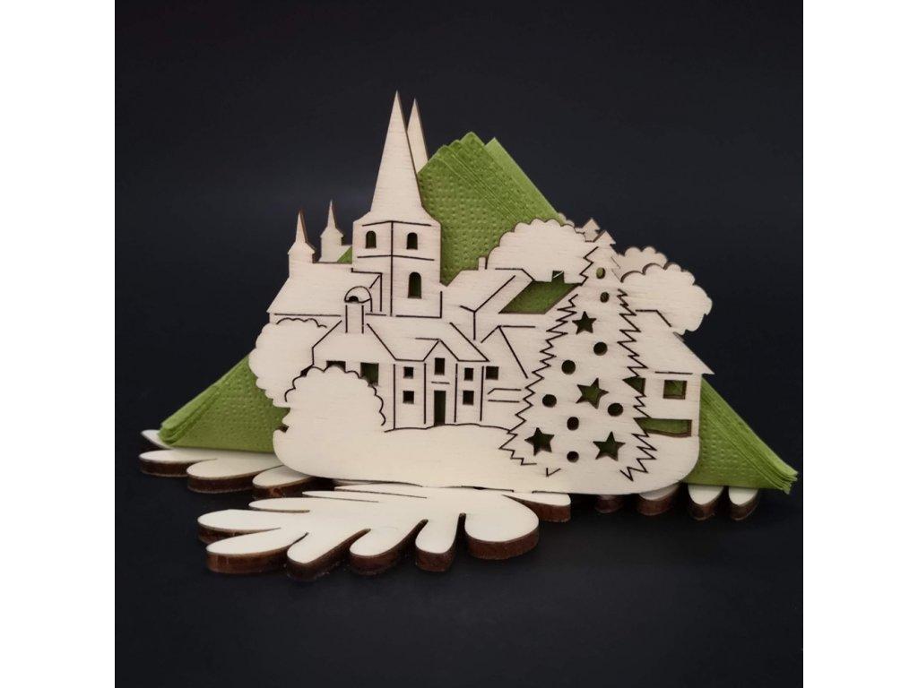 Dřevěný stojánek na ubrousky s vánočním motivem městečka, délka 10 cm