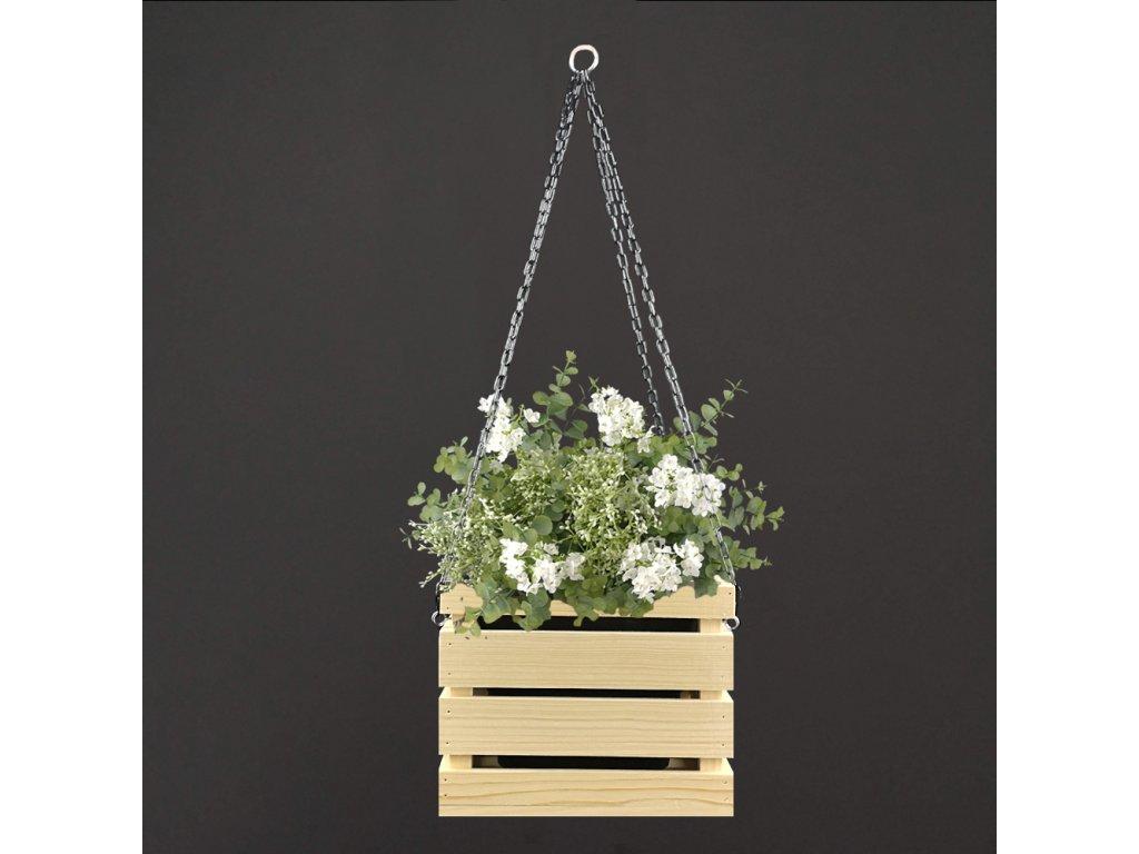 dřevěný závěsný květináč