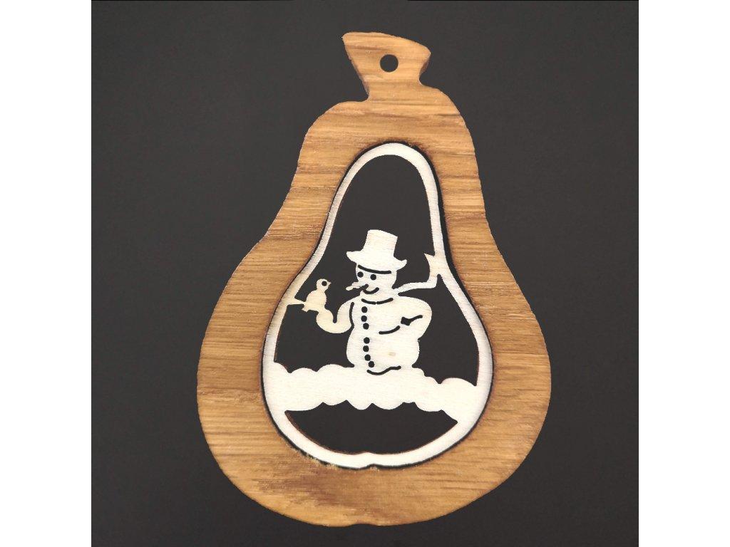 Dřevěná ozdoba z masivu s vkladem - hruška se sněhulákem 9 cm