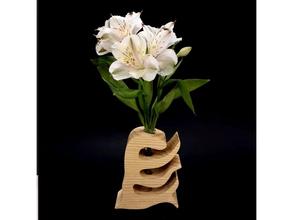 Dřevěná váza ve tvaru hřebenu, masivní dřevo, výška 12 cm