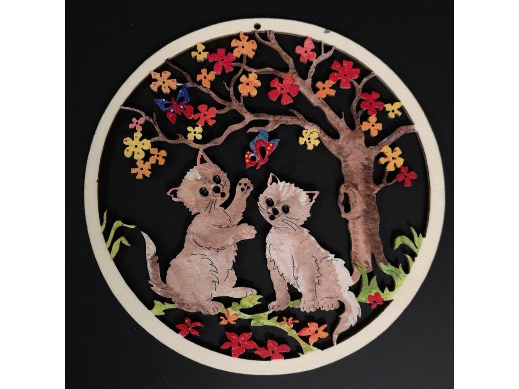 Dřevěná ozdoba barevná kočky v kolečku 19 cm