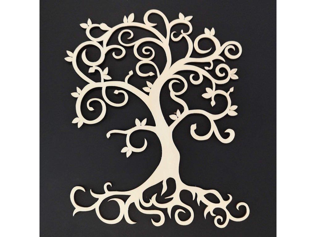 Dřevěný strom přírodní, závěsná dekorace, výška 20 cm