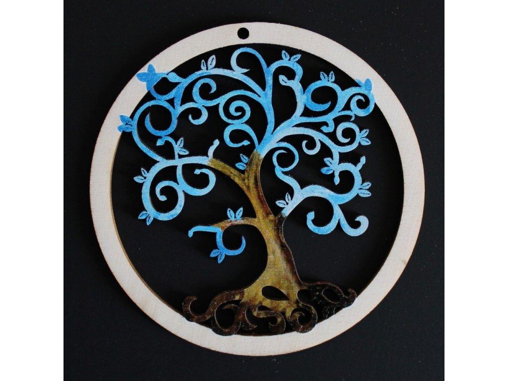 36723 ozdoba kulatá Strom modrý spirálky 9cm 31Kč