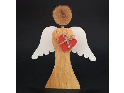Dřevěný anděl s bílými křídly a červeným srdcem, masivní dřevo, 17x14,5x2 cm
