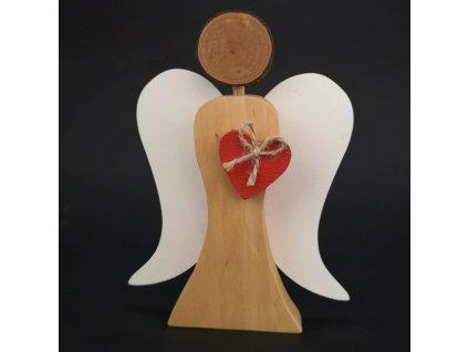 Dřevěný anděl s bílými křídly a červeným srdcem, masivní dřevo, 17x13,5x2 cm