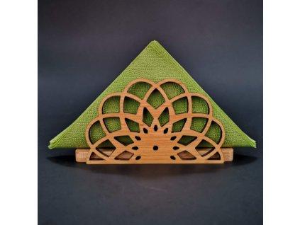 Dřevěný stojánek na ubrousky ve tvaru mandaly, masivní dřevo, 12,3x6,5x3,5 cm