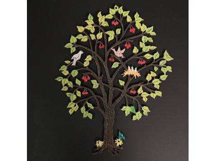 Dřevěný strom s třešněmi, barevná závěsná dekorace, výška 21 cm