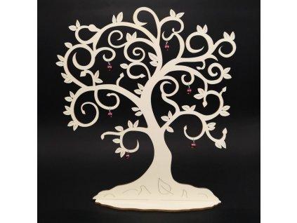 Dřevěný 3D strom s ozdobami, výška 40 cm