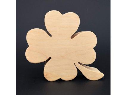 Dřevěná dekorace čtyřlístek, masivní dřevo, 10x9 cm