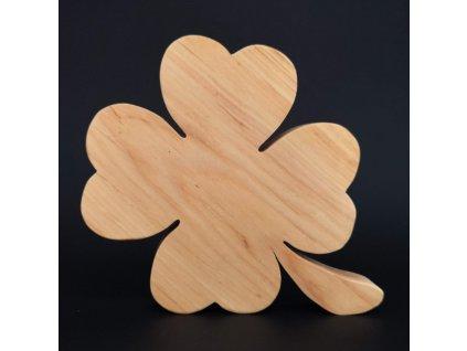 Dřevěná dekorace čtyřlístek, masivní dřevo, 20x18 cm