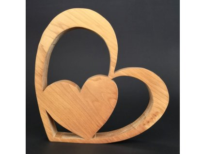 Dřevěná dekorace srdce v srdci, masivní dřevo, velikost 20 cm