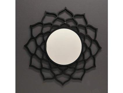 Dřevěné zrcadlo ve tvaru mandaly, černá barva, průměr 41 cm