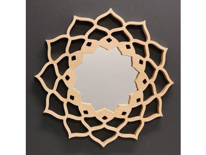 Dřevěné zrcadlo ve tvaru mandaly, masivní dřevo, průměr 40 cm