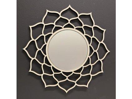 Dřevěné zrcadlo ve tvaru mandaly, průměr 41 cm