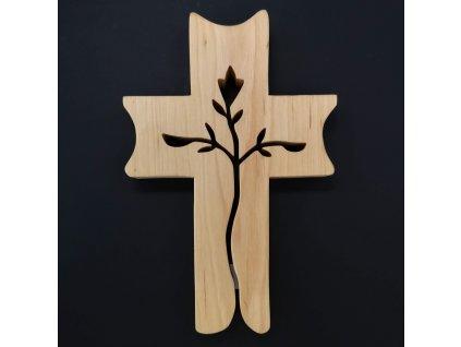 Dřevěný kříž s prořezem ve tvaru růže 19 cm
