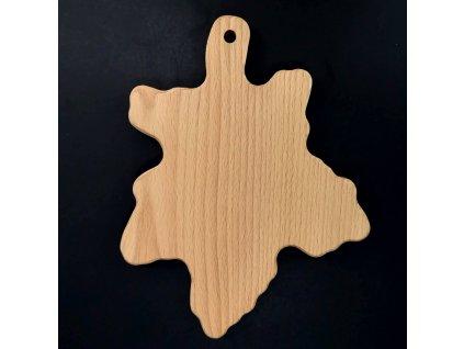 Dřevěné prkénko ve tvaru javorového listu, masivní dřevo, rozměr 25x19,5 cm