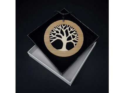 Dřevěný přívěsek z masivního dřeva kulatý s vkladem - strom 6,5 cm