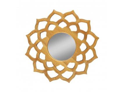 Dřevěné zrcadlo ve tvaru mandaly, masivní dřevo, průměr 15 cm