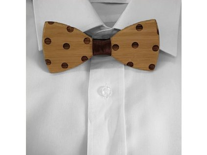 Dřevěný motýlek k obleku - puntíky 11 cm