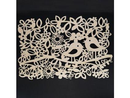 Dřevěné prostírání s ptáčky a květy, rozměr 48,5x32x0,5 cm