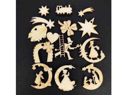 Dřevěné pottpourie - set vánočních motivů 14 ks