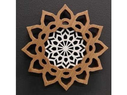 Mandala s vkladem na zavěšení, masivní dřevo, průměr 20 cm