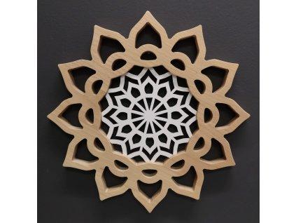 Mandala s vkladem na zavěšení, masivní dřevo, průměr 30 cm
