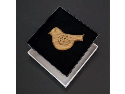 Dřevěná brož ptáček přírodní, 6x4 cm