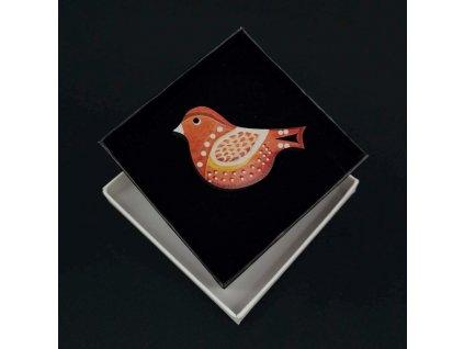 Dřevěná brož červený ptáček, 6x4 cm