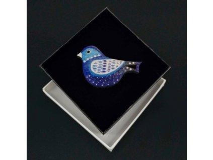 Dřevěná brož modrý ptáček, 6x4 cm