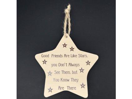 Dřevěná cedule hvězda s nápisem