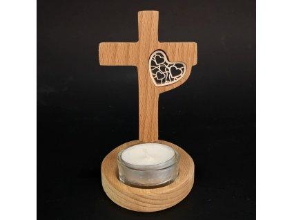 Dřevěný svícen kříž
