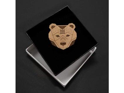 Dřevěná brož medvědí hlava, 4,5 cm