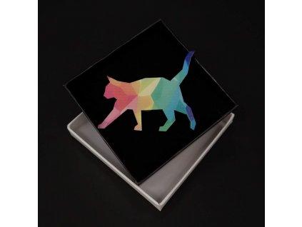 Dřevěná brož barevná kočka, 6,5x4,5 cm