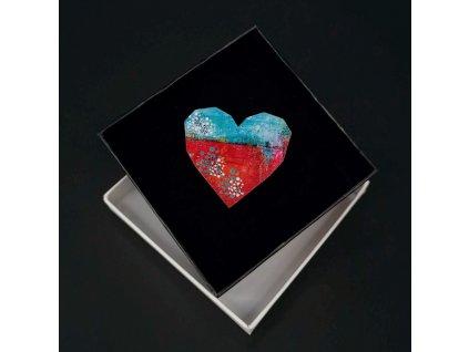 Dřevěná brož srdce