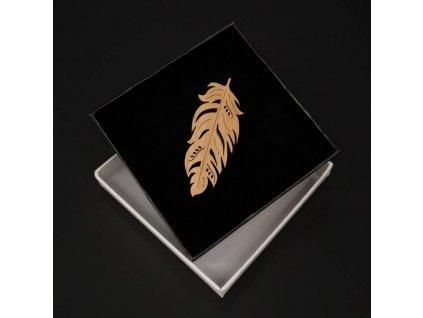Dřevěná brož peříčko, 6x3 cm