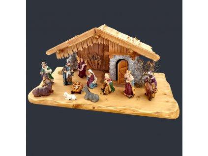 Dřevěný betlém s figurkami 60 cm