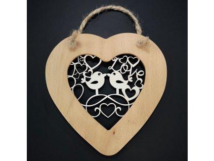 Dřevěné srdce s vkladem - ptáčci