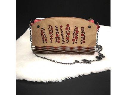 Dřevěná kabelka červená - bubliny 25 cm