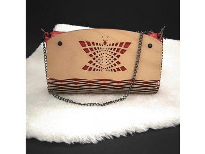 Dřevěná kabelka červená - motýl 25 cm