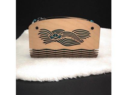 Dřevěná kabelka tyrkysová - moře 25 cm