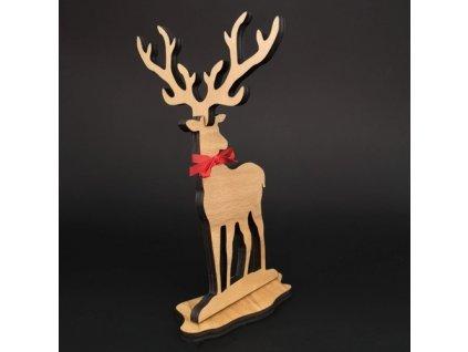 Dřevěná dekorace jelen, výška 21 cm